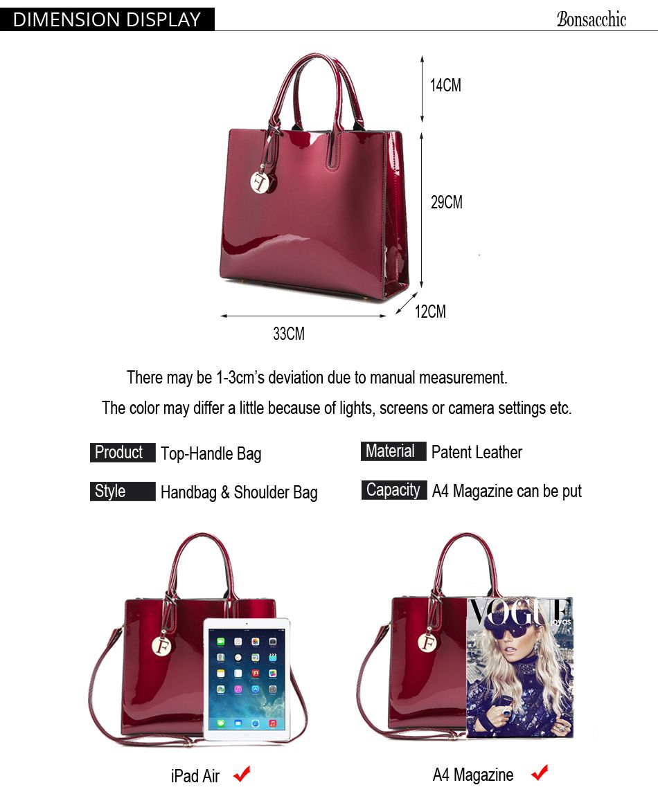 42.99 - Cool Bonsacchic Red Patent Leather Tote Bag Handbags Women Famous  Brands Lady s Lacquered Bag fb06f1de35