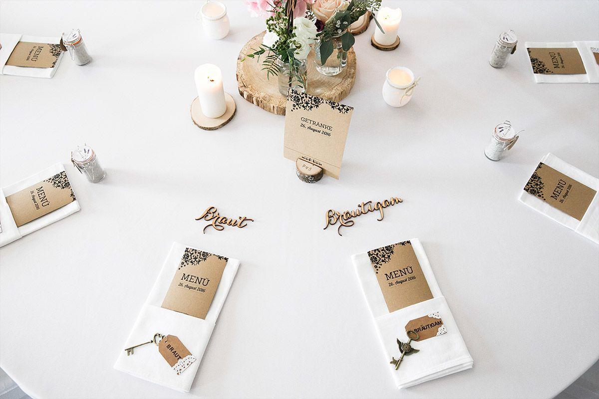 schlichte Tischdekoration Kraftpaper bei eleganter Vintage-Hochzeit - Spreespeicher Hochzeitsfotograf © www.hochzeitslicht.de