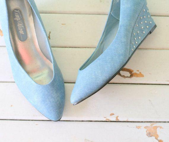 1980s BLUE JEAN Fancy Heels....size 8 women....shoes. heels. pumps. bombshell. jean. fancy. party. jean shoes. retro. hipster. urban. wedges   - 1980s Hide and Seek-#1980s   1980s BLUE JEAN Fancy Heels....size 8 women....shoes. heels. pumps. bombshell. jean. fancy. party. jean shoes. retro. hipster. urban. wedges    Katherine