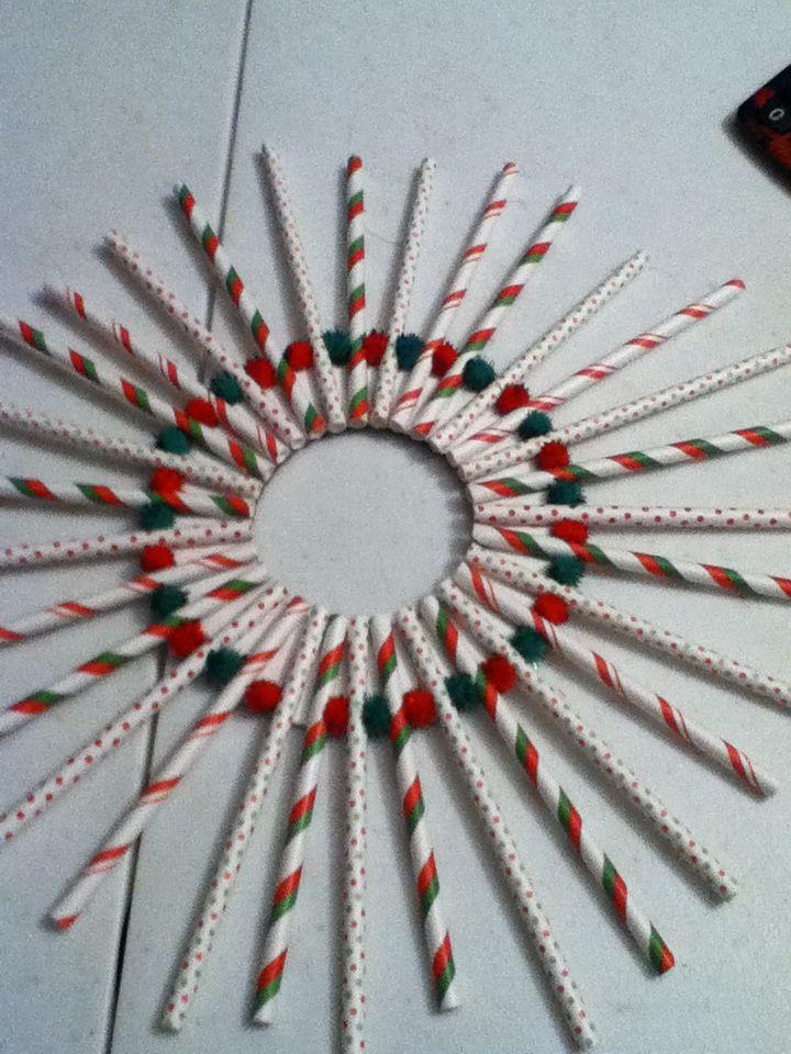 Wreath made from cake pop sticks