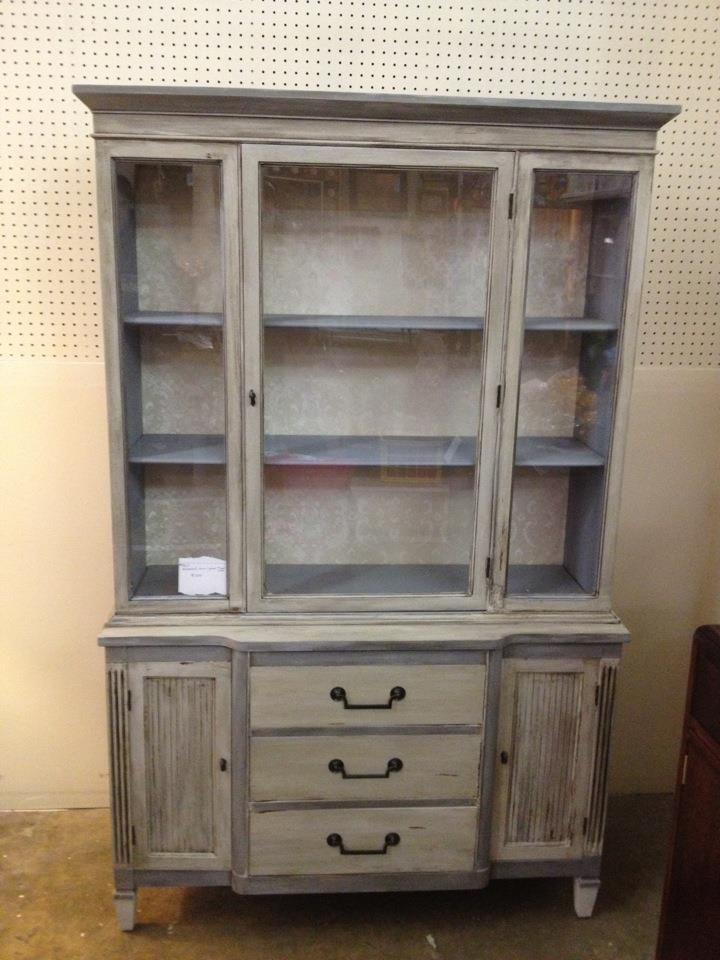 refinished shabby chic china cabinet using chalk paint and wallpaper for the home shabby. Black Bedroom Furniture Sets. Home Design Ideas