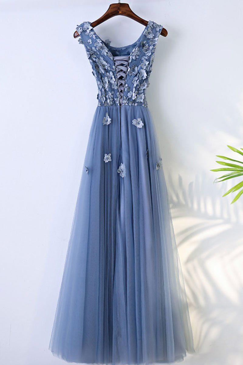 Blue round neck tulle lace applique long prom dress evening dress