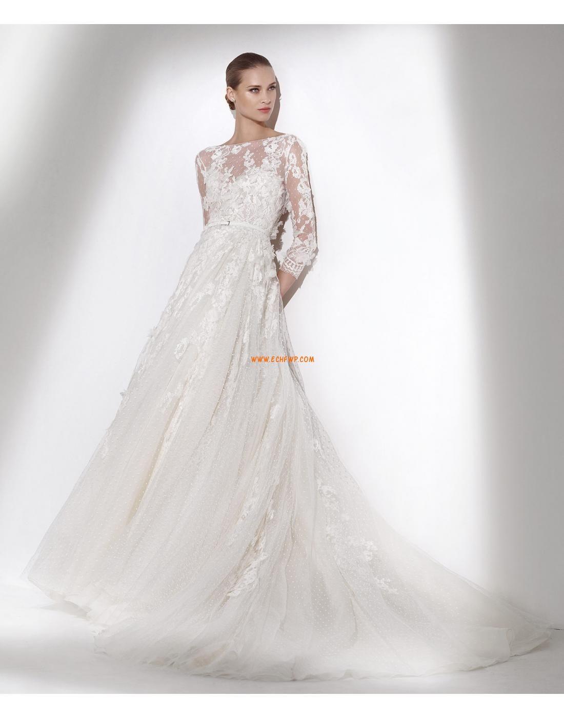 Lange Ärmel Spitze Natürlich Brautkleider 2015