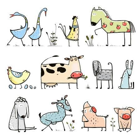 Funny Cartoon Farm Domestic Animals Collection for Kids