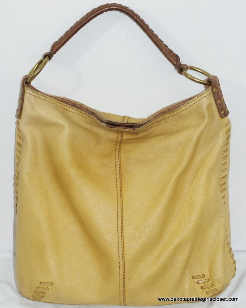 e52742d68a Lucky Brand Whipstitch Slouch Hobo Handbag Yellow Brown Leather Vintage  Inspired  LuckyBrand  Hobo