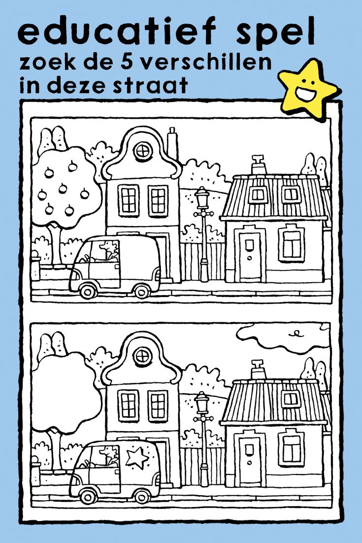 Educatief Kleurplaten Printen.Zoek De 5 Verschillen In Deze Straat Kleurplaat Educatieve