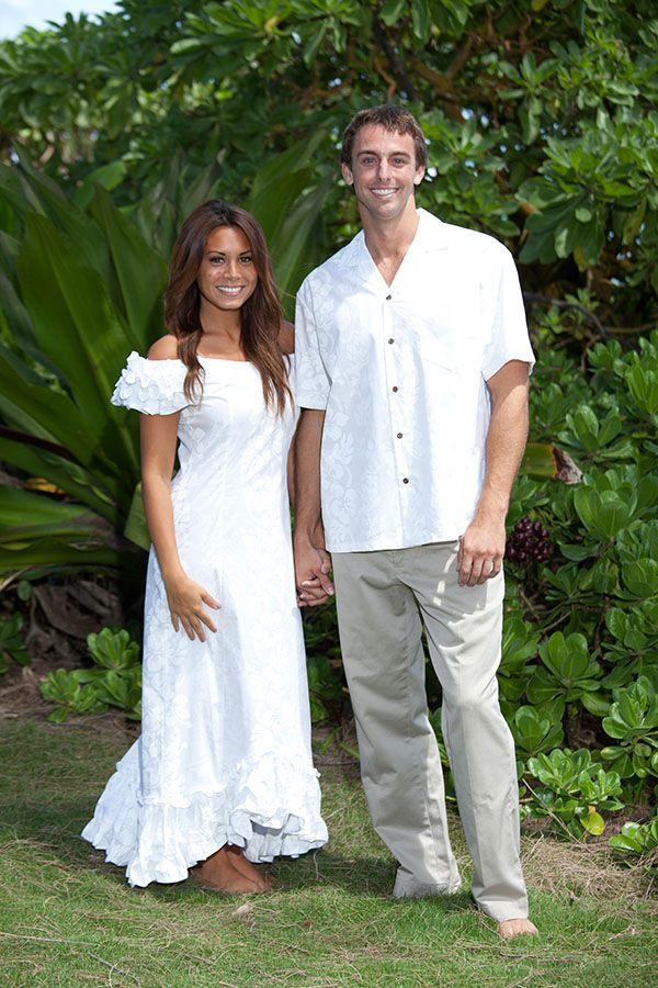 Matching Ruffle Shoulder Wedding Muumuu And Hawaiian Shirt In Front Of Some Mive Beach Vegetation