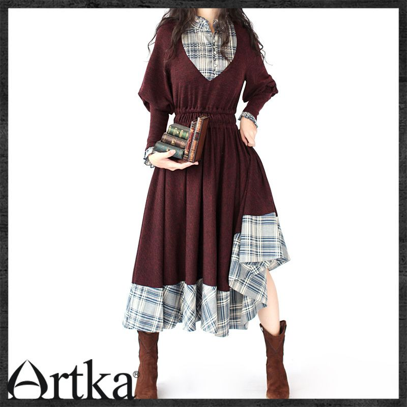 Akkadian autumn women's red series - spring patchwork comfortable one-piece dress - a09227 on AliExpress.com. 5% off $127.74