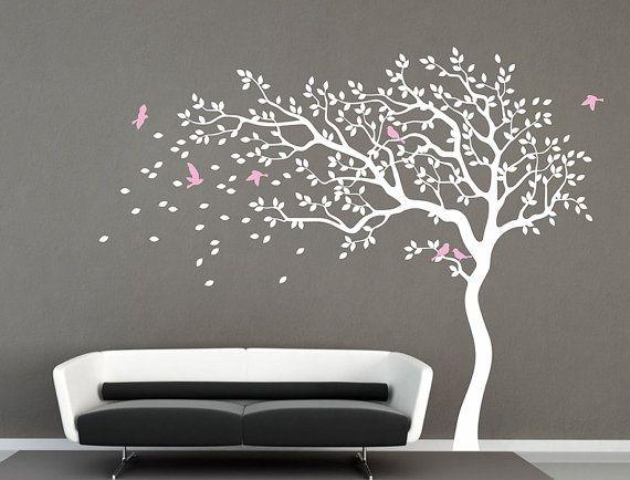 White Tree Wall Decal Nursery Baby