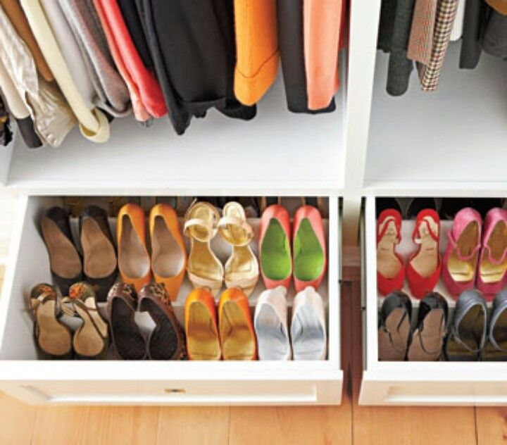 Cleverly Rigged Shoe Storage PLUS...they stay dust free for the most part!