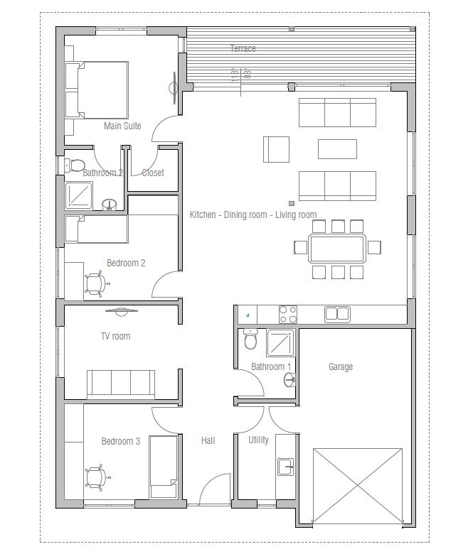 Tiny Houses Little Lots Floor Plans For Very Small: Modern House Plan To Narrow And Small Lot. Covered Terrace