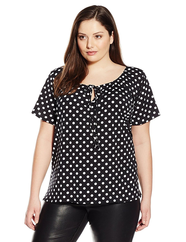 e2d53a5e706 Women s Plus-Size Slit Flutter Sleeve Keyhole Tie Peasant Top - Black White  Dot - CA1297K21TD