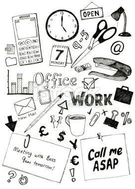 Office doodles Royalty Free Stock Vector Art Illustration