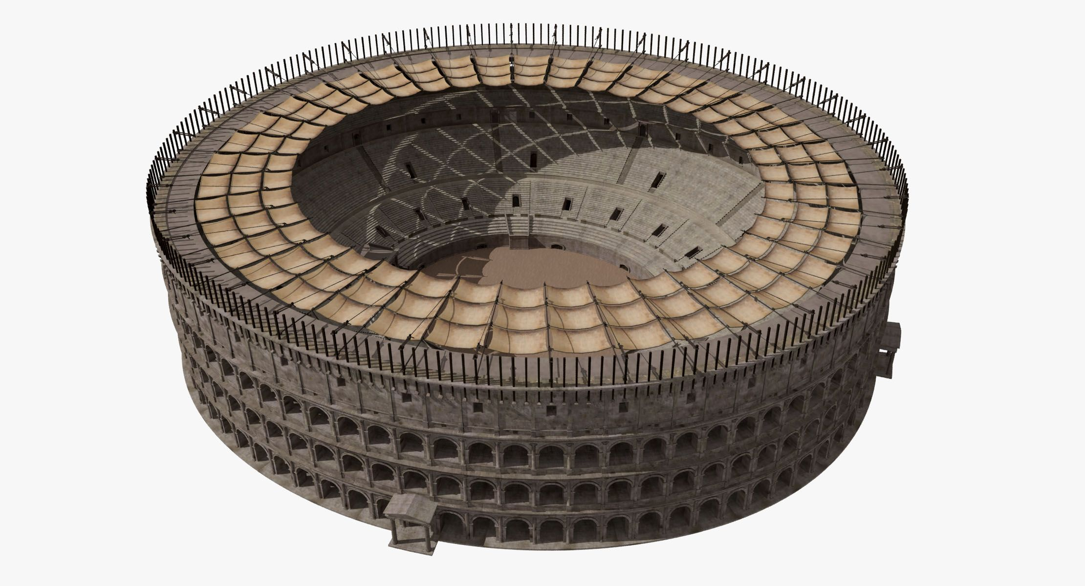 Colosseum With Velarium Ancient Greece 3d Model