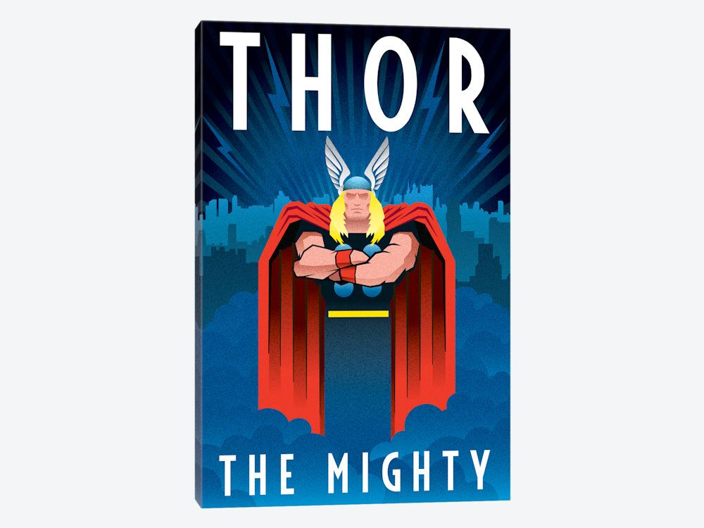 Thor The Mighty Minimalistic Poster By Marvel Comics 1 Piece Canvas Wall Art Thor Art Art Deco Posters Thor Posters