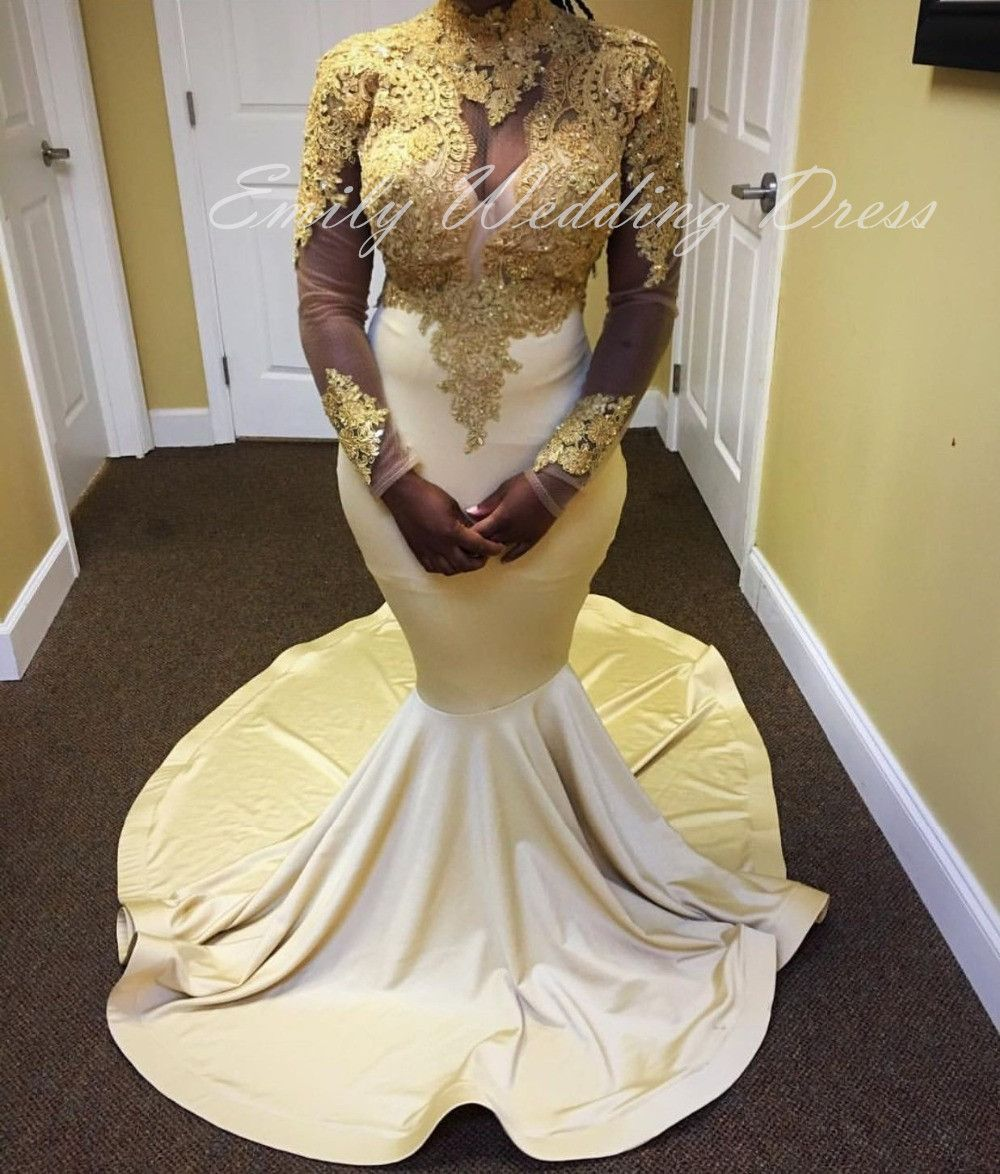 Free shipping buy best african high neck ivory and gold mermaid