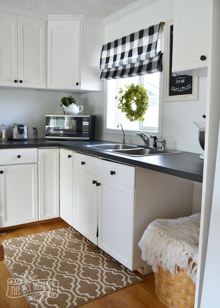 Small White Cottage Kitchen a budget friendly, black and white country cottage farmhouse