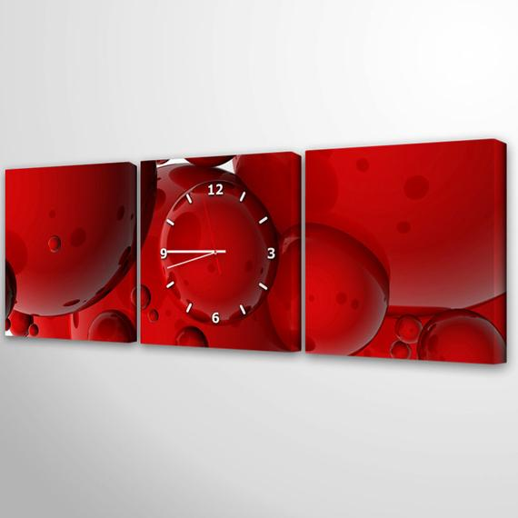 Modern Wall Clock Unique Tryptich Red Wall Clock Large Wall Clock Art Canvas Print Clock Wall Art Wall Clock Modern Wall Clock Canvas