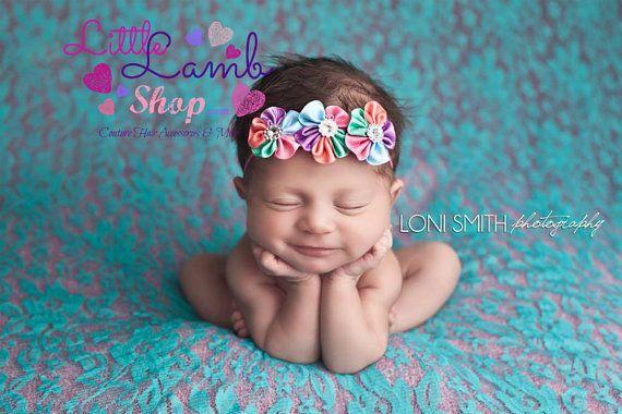 Rainbow newborn girl flower kids baby hair band baby headband newborn photography props summer spring canada