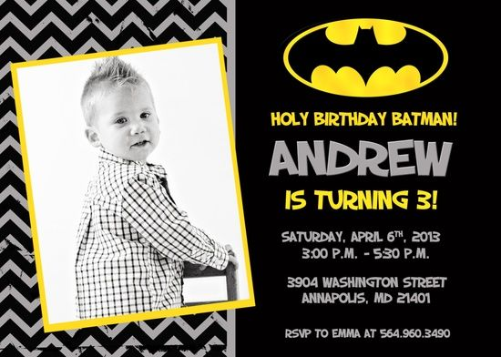 Batman Birthday Party Invitation Printable By