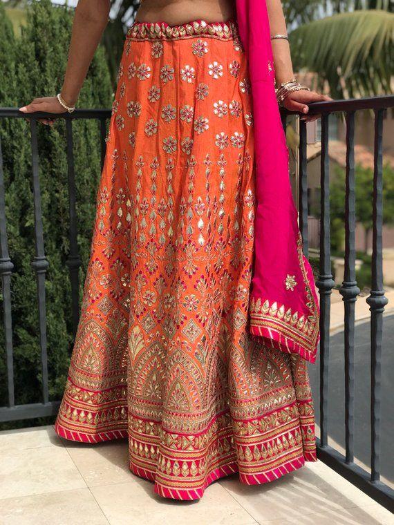 9c1cf5aeda58 Women s Raw Silk Orange and Magenta Indian Pakistani Lengha. Crop Top with  Skirt and Scarf. Size Sma