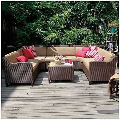 Wilson Fisher Riviera Resin Wicker 6 Piece Modular Seating Set Big Lots Patio Furniture Inexpensive Patio Furniture Patio Lounge Furniture