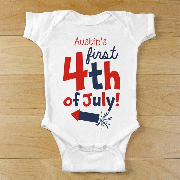 d8bbecc87 First Fourth of July Personalized Baby Outfit | 1st 4th of July Infant  Creeper