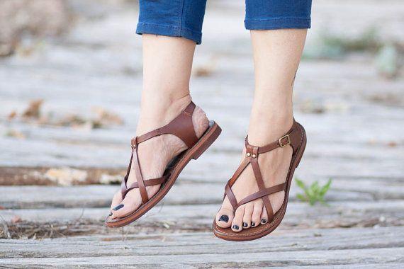 Sale 20% OFF Brown Leather Sandals Brown Sandals por BangiShop