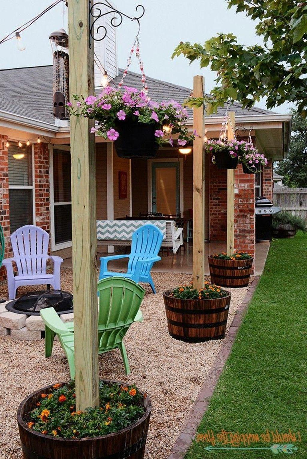 32 Fabulous Patio Design Ideas On A Budget Inexpensive Backyard Ideas Patio Garden Design Large Backyard Landscaping