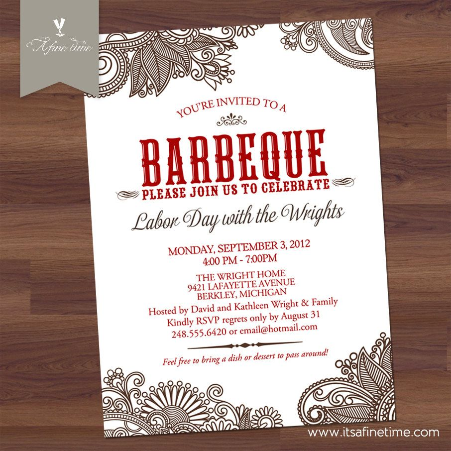 Bbq Party Invitation Bridal Or S Shower Elegant Western Rehearsal Dinner Barbecue