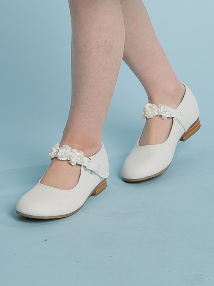 White Flower Girl Shoes Girls Traditional Classic Shoes