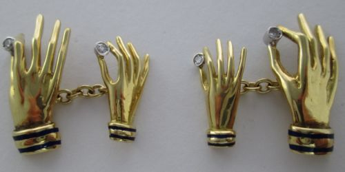 A Pair of Diamond Yellow and White 18kt Gold Hand Cufflinks by Paul Flato