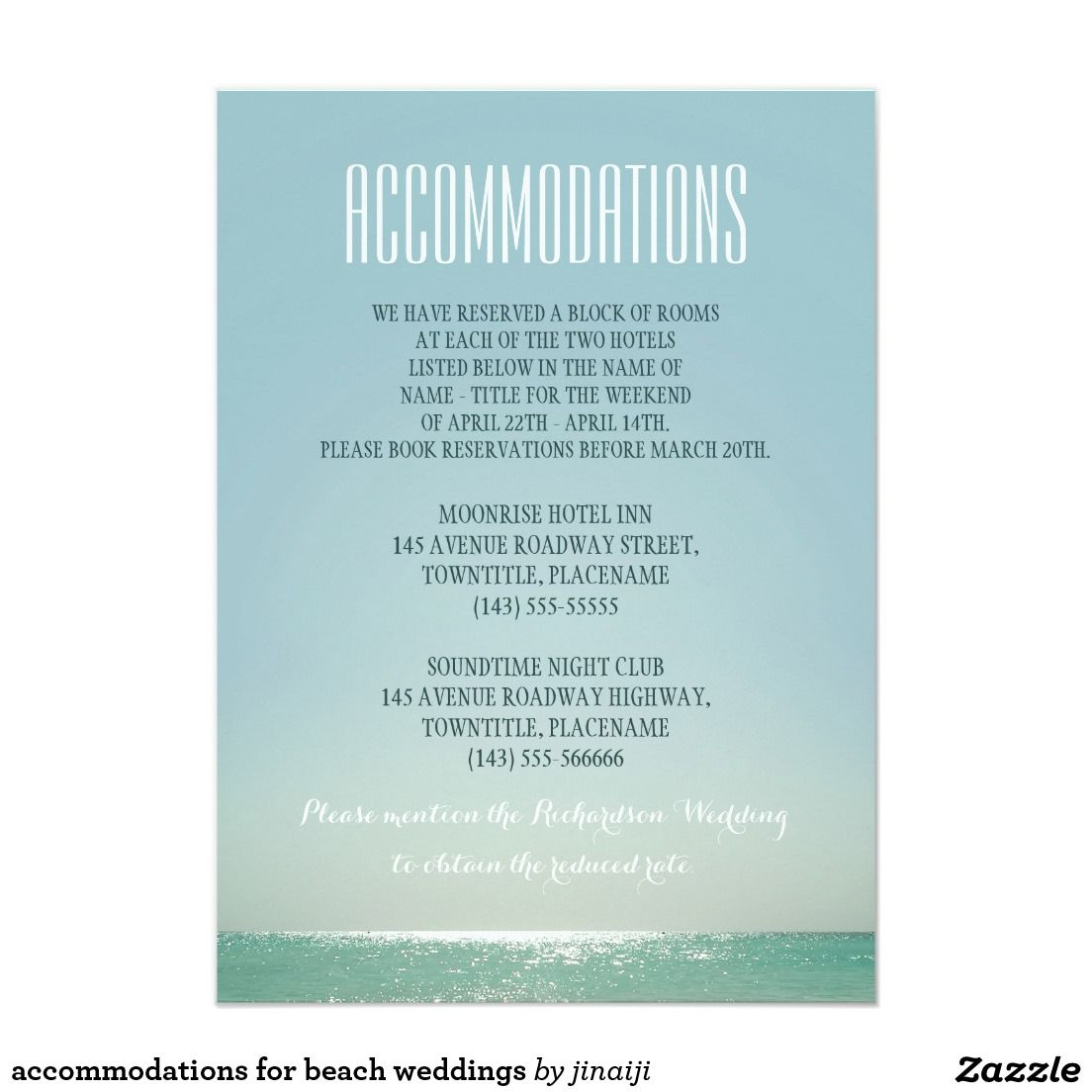 Accommodations for beach weddings beach wedding invitations accommodations for beach weddings stopboris Gallery