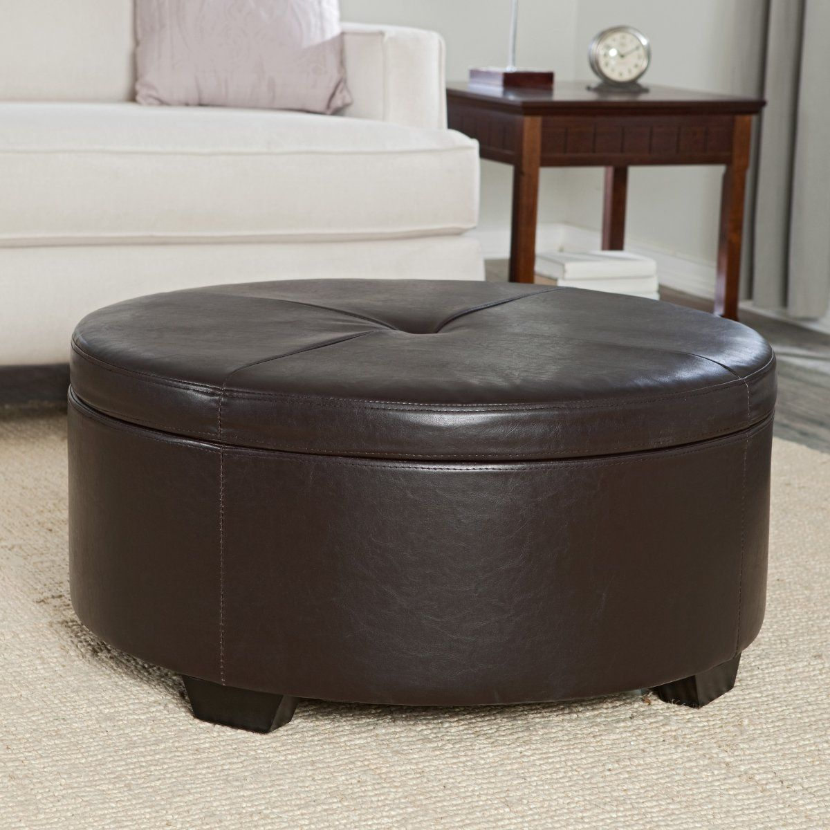 Round Leather Storage Ottoman Coffee Table   Rooms To Go Living Room Set  Check More At