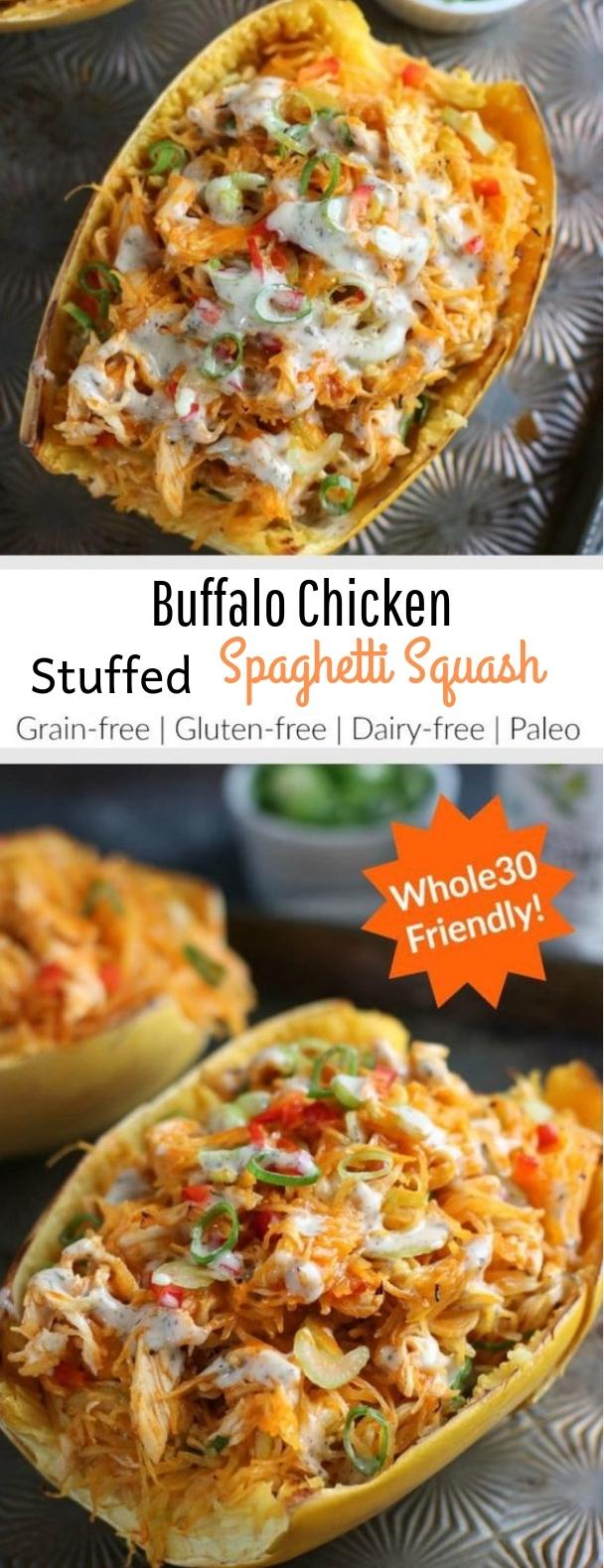 Buffalo Chicken Stuffed Spaghetti Squash #paleo #glutenfree #stuffedspaghettisquash