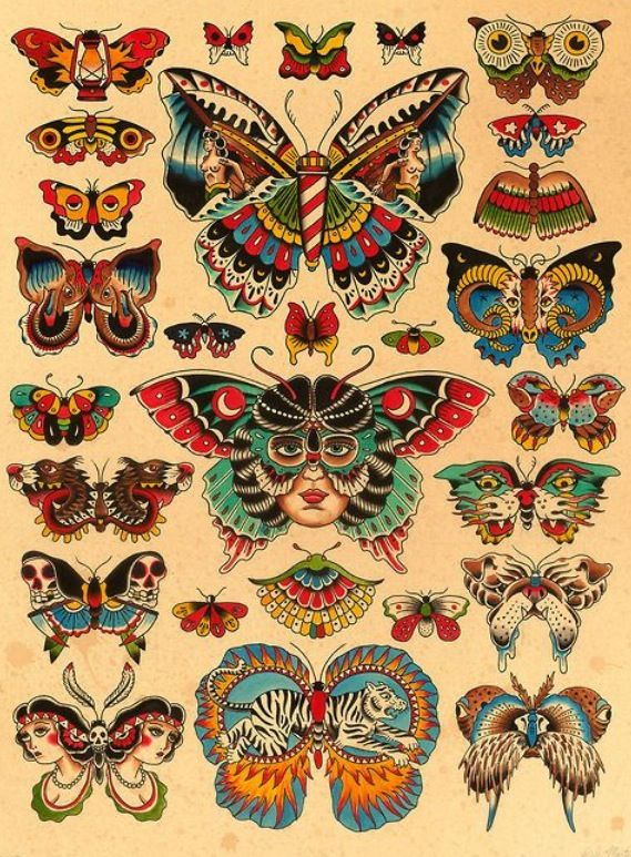 Traditional Butterfly Tattoo Flash: Traditional Butterfly Tattoo