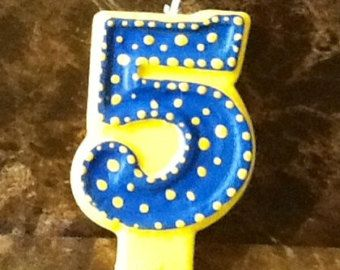 Yellow and Blue Painted Candle painted candle birthday candle
