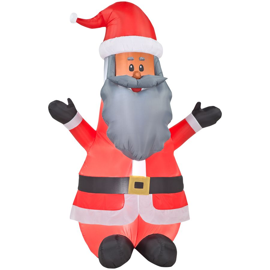 gemmy inflatable airn african american santa outdoor - Lowes Blow Up Christmas Decorations
