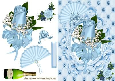BEAUTIFUL BLUE ROSE FAN on Craftsuprint designed by Nick Bowley - BEAUTIFUL BLUE ROSE