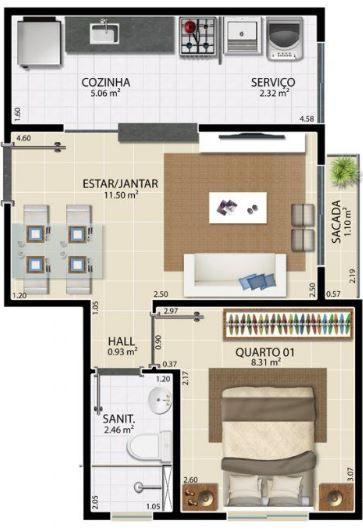 Plano de departamento de una recamara con medidas en for Casa minimalista 80 metros