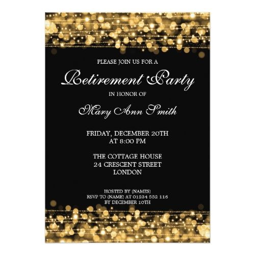 Elegant Retirement Party Gold Sparkles Invitation Party - retirement party card