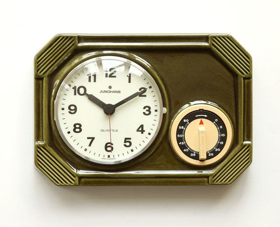 70s JUNGHANS Germany Ceramic Kitchen Clock   Timer Space Age Panton Modern