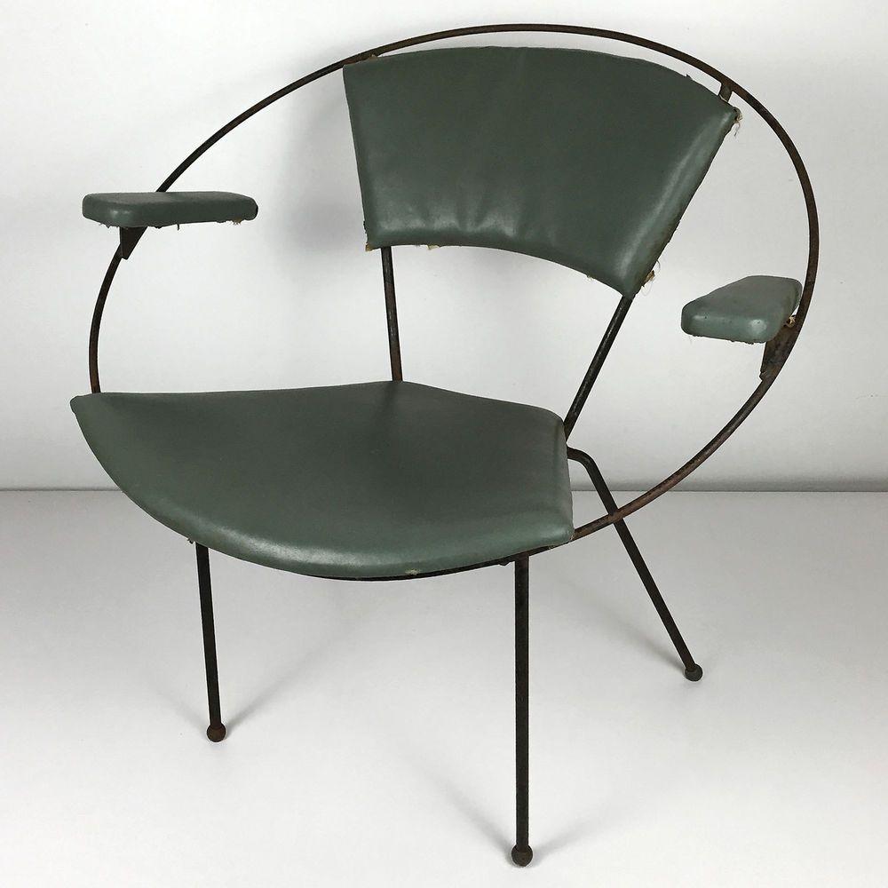 Vintage Iron Hoop Chair - Mid Century Modern Retro Atomic ...