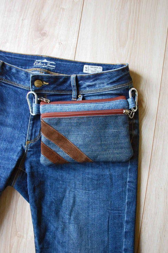 Photo of Blue Pocket Recycled Jeans Waist Bag, Belt Bag Purse, Bum Bag for Phone / Ge …