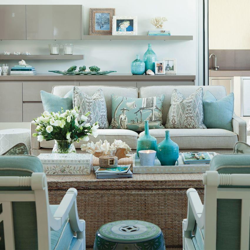 Hermoso Living Con Tonos #aguamarina Fresco Y Acogedor #decoracion  #diseñointerior / Verandah House