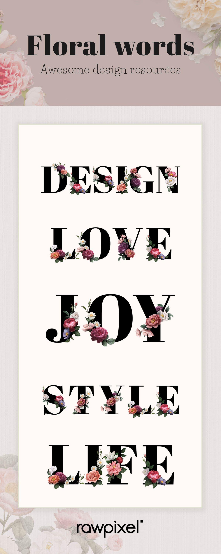 High Definition Feminine Floral Lettering Word Typography Font Design Resources Set In 2020 Typography Design Font Design Design Resources