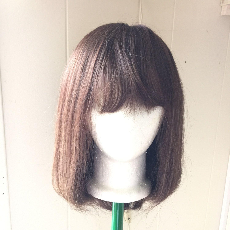 Human Hair Wig Brown Shoulder Length Bob Vintage Made in Hong Kong Natural Pretty