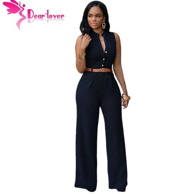 760e3c7b5 DearLover Fashion Big Women Sleeveless Maxi Overalls Belted Wide Leg  Jumpsuit 7 Colors S-2XL Plus Size macacao long pant LC60932