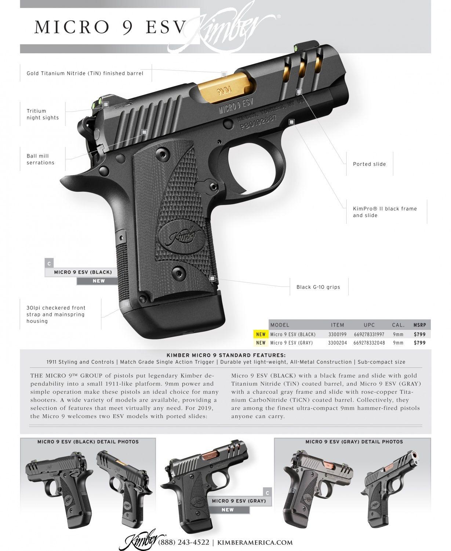 Kimber 1911 Micro Pistols: NEW For 2019: Kimber Micro 9 ESV & Micro 9 KHX Unveiled