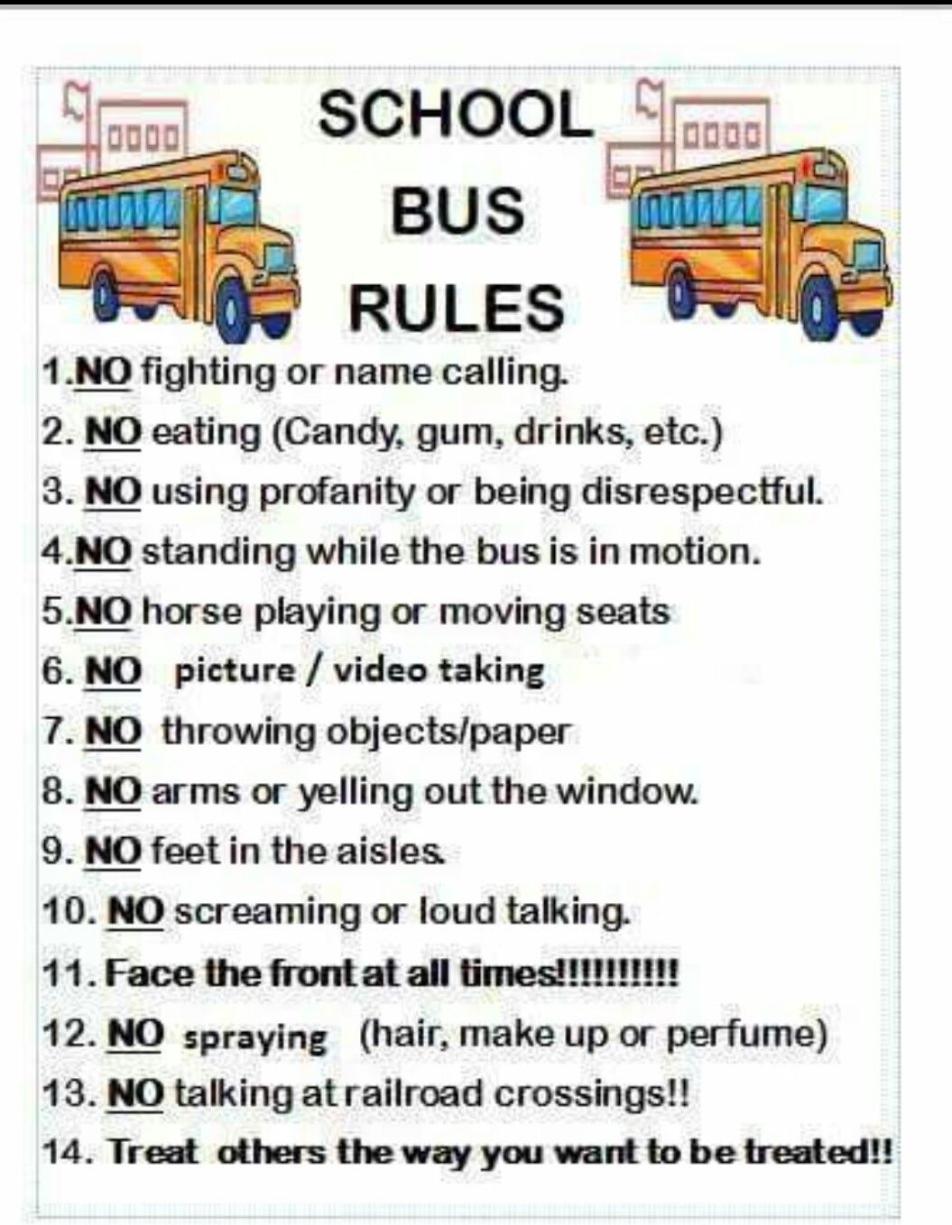 School bus rules School bus safety, School bus driving
